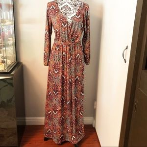 Espresso Long Sleeves Paisley Print Maxi Dress